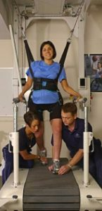 Erica Nader, the first American to get the OEC procedure in Portugal, does occasional gait training but prefers to work out in water because it lends more balance and support.
