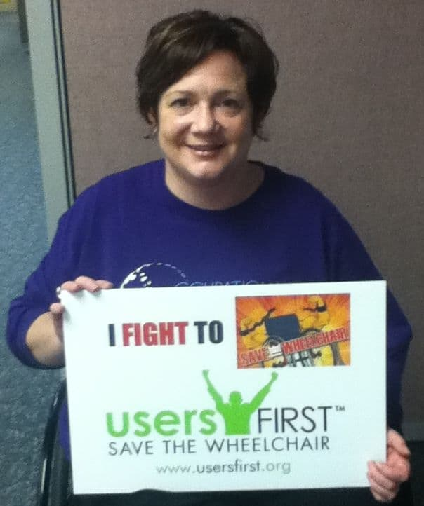 Users First's Jenn Wolf is in Washington, D.C., right now fighting for affordable, appropriate wheelchairs.
