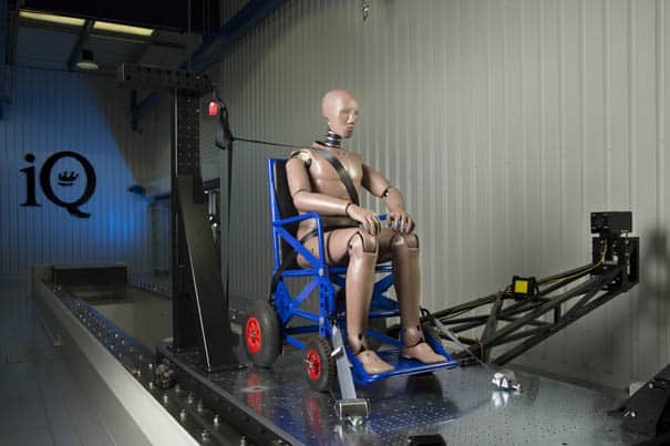 The iQ Research Center studies the dynamics of how wheelchair users are affected in a crash.