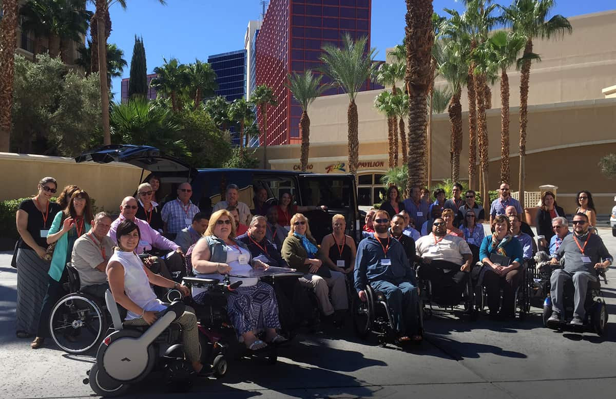 Representatives from 33 different states and numerous chapters gathered outside the Rio Hotel and Casino for United Spinal's annual chapter meeting.