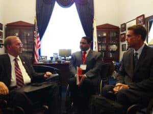Left to right: Rep. James Langevin (D-R.I.) meets with George Gallego of New York Chapter and United Spinal's president Joe Gaskins.