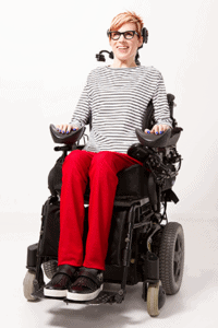 Even the model sporting these Izzy Camilerri Adaptive Clothing pants has fantastically straight pant seams.