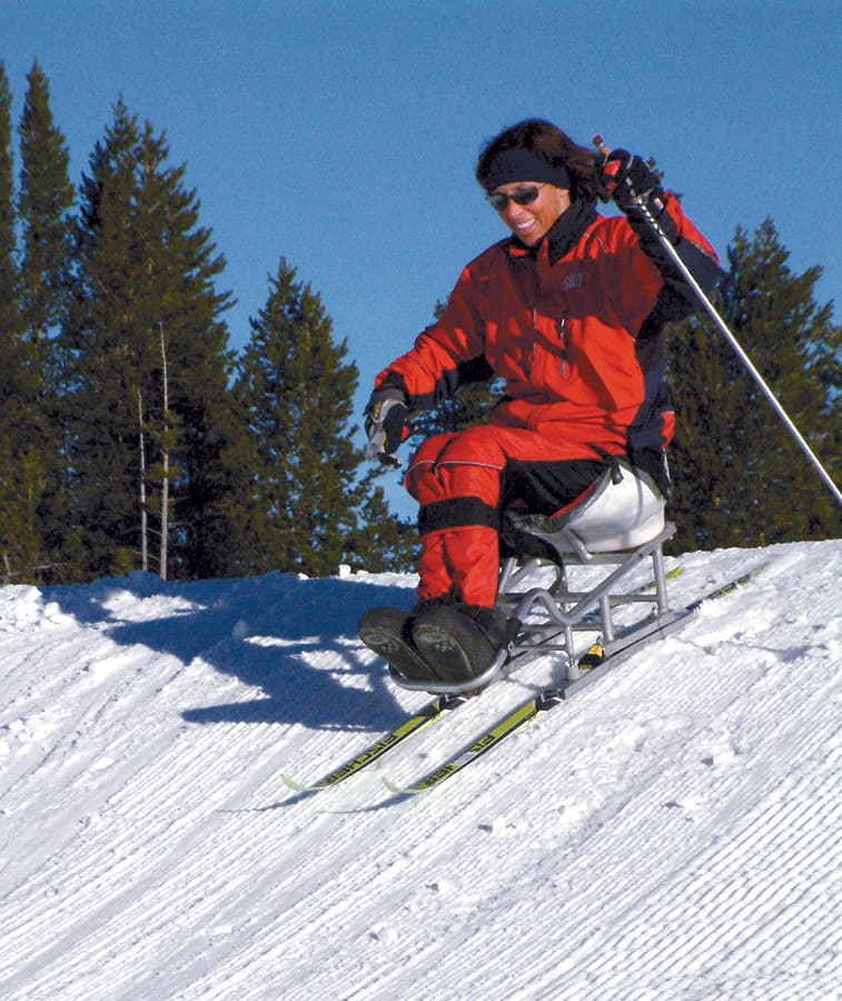 Candace Cable, with 40 years experience as a T10 para, skis cross-country every day during the winter.